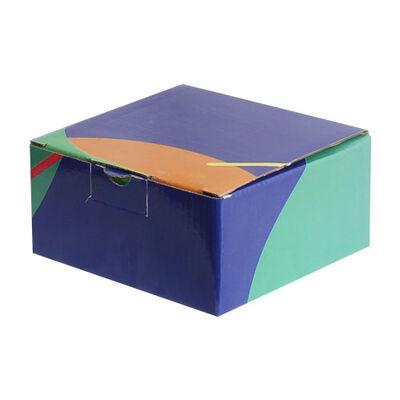 13,5x13,5x6,5cm Desenli Kutu - Lacivert-Turuncu-Yeşil