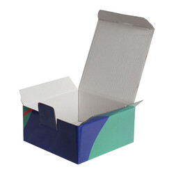 13,5x13,5x6,5cm Desenli Kutu - Lacivert-Turuncu-Yeşil - Thumbnail