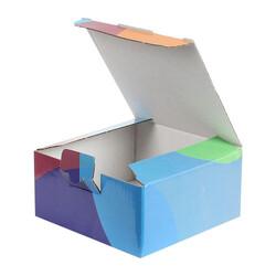 13,5x13,5x6,5cm Desenli Kutu -Mavi-Bordo-Turuncu - Thumbnail
