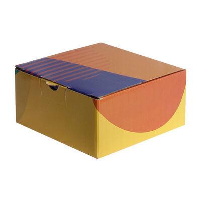 13,5x13,5x6,5cm Desenli Kutu - Turuncu-Lacivert-Sarı