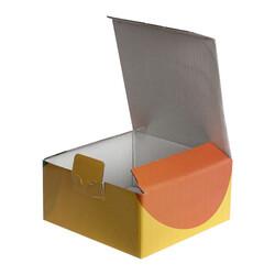 13,5x13,5x6,5cm Desenli Kutu - Turuncu-Lacivert-Sarı - Thumbnail