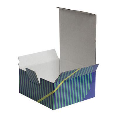 13,5x13,5x6,5cm Desenli Kutu - Turuncu-Sarı-Yeşil Çizgili