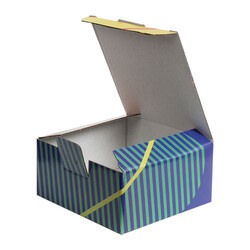 13,5x13,5x6,5cm Desenli Kutu - Turuncu-Sarı-Yeşil Çizgili - Thumbnail