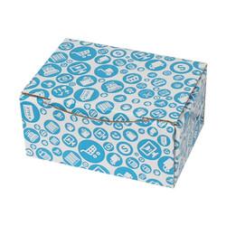 15,5x11x7,5cm Mavi Alışveriş Desenli Kutu - Thumbnail