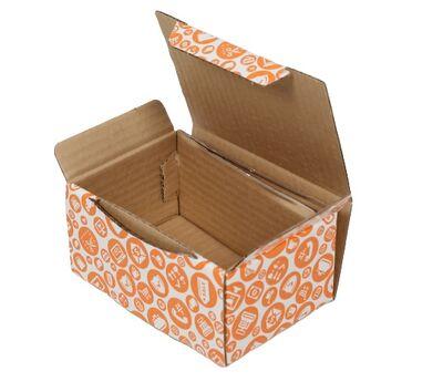15,5x11x7,5cm Turuncu Alışveriş Desenli Kutu