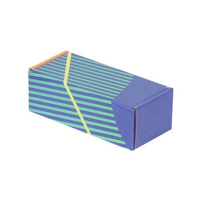 18x7,5x6cm Kilitli Kutu - Lacivert Yeşil Çizgili