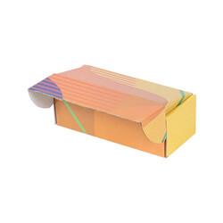 18x7,5x6cm Kilitli Kutu - Sarı Turuncu Çizgili - Thumbnail