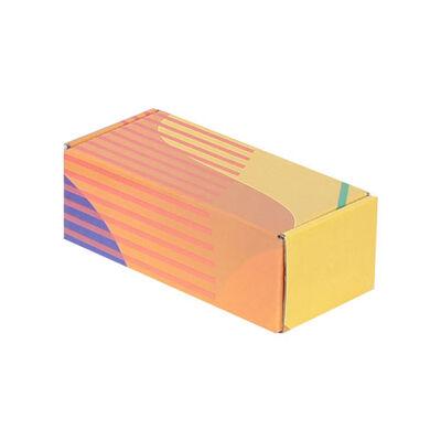 18x7,5x6cm Kilitli Kutu - Sarı Turuncu Çizgili