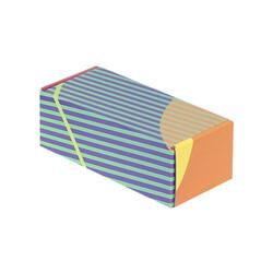 18x7,5x6cm Kilitli Kutu - Turuncu Lacivert Yeşil Çizgili - Thumbnail