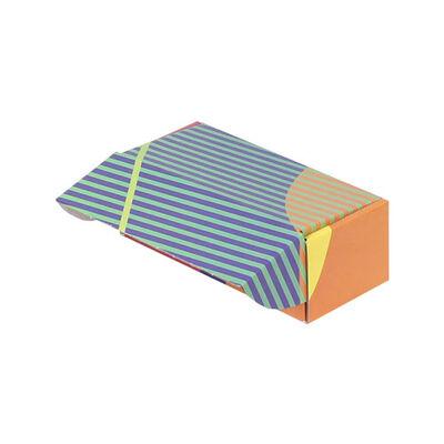 18x7,5x6cm Kilitli Kutu - Turuncu Lacivert Yeşil Çizgili