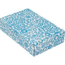 24x16,5x6cm Mavi Desenli Kutu - Thumbnail