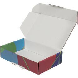 24x16,5x6cm Renkli Desenli Kutu [Mavi-Yeşil] - Thumbnail