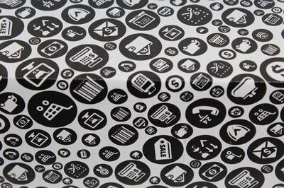 25x20x10cm Tek Oluklu Siyah Alışveriş Desenli Koli