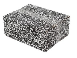 25x20x10cm Tek Oluklu Siyah Alışveriş Desenli Koli - Thumbnail