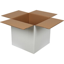 35x35x35cm Çift Oluklu Beyaz Koli - Thumbnail